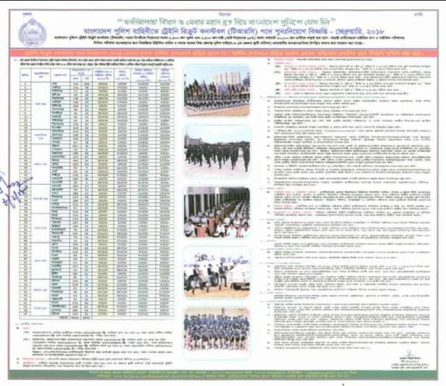 10 thousand Constable recruitment notice of Bangladesh Police