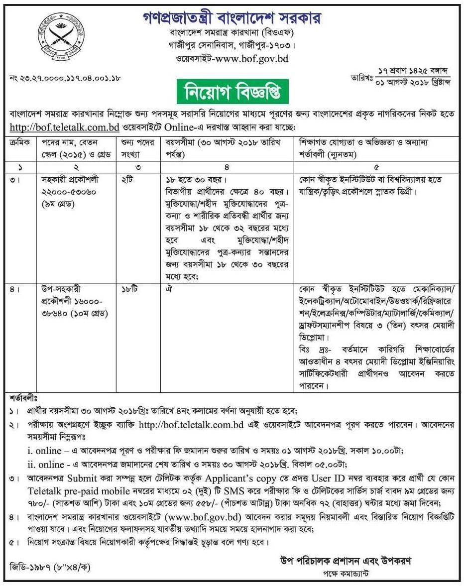 BOF Job Circular 2018 in Bangladesh