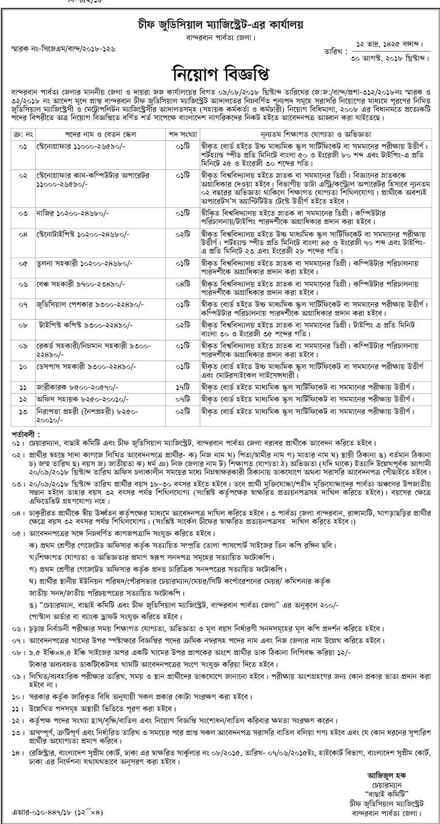 Chief Judicial Magistrate Court Job Circular 2018