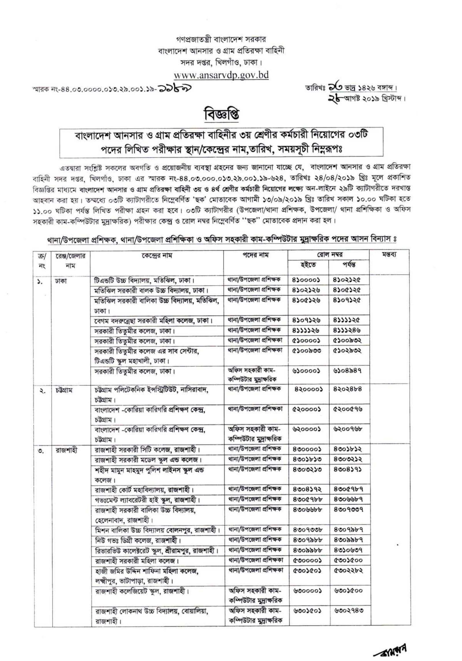 Bangladesh Ansar VDP Admit Card 2019 Ansar Recruitment