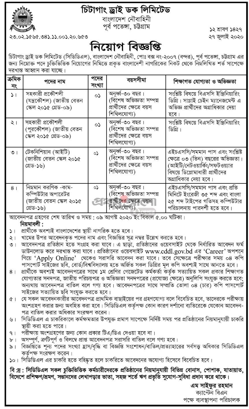 Chittagong Dry Dock Limited Job Circular 2020